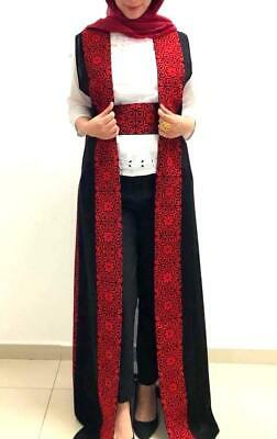 Long Embroidered Light Jacket Palestinian Heritage Thobe ABAYA Black Maxi Vest