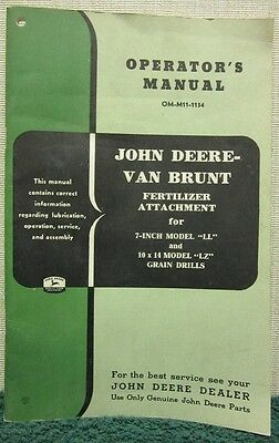 John Deere Van Brunt Fertilizer Attachment Operators Manual Om-m11-1154