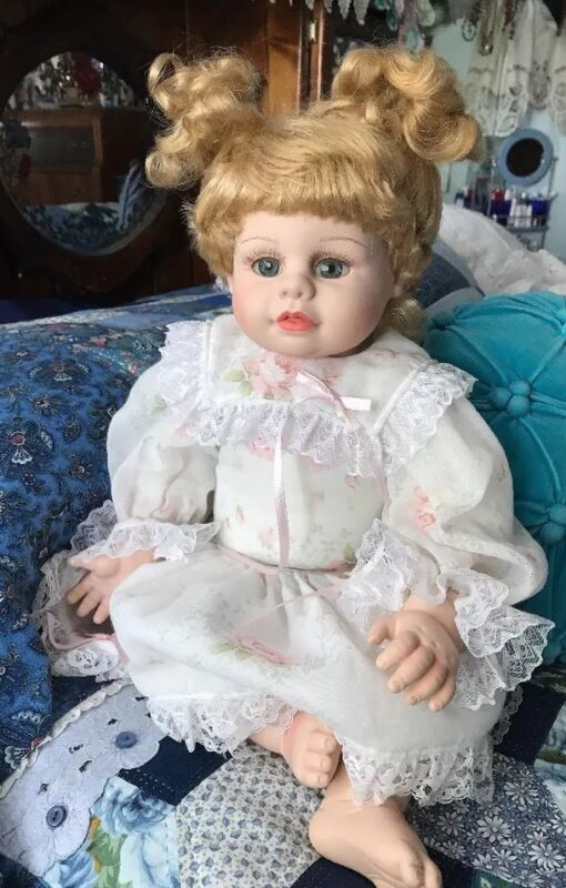 Heritage Mint vinyl Doll  2001 Beautiful Pink Dress And Pantaloons Weighted.
