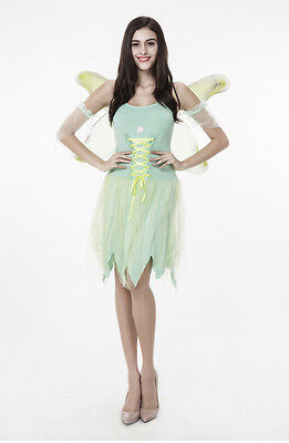Tinker Bell Tinkerbell Costume Dress Green Fairy Pixie for Halloween Cosplay