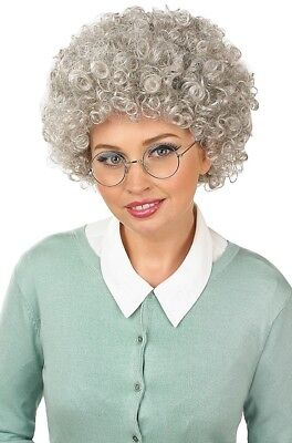 Ladies Grey Old Lady Granny Grandma Permed Queen Fancy Dress Costume Outfit - Old Lady Outfit