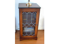 HIFI Cabinet, Tall Dark wood with glass fronted door