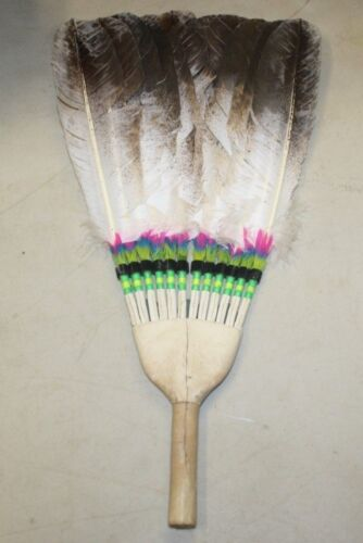 NATIVE AMERICAN BEADED 12 FEATHER PRAYER FAN FREE SHIPPING