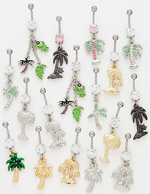 *SPECIAL PRICE* 10pc Palm Trees Dangle Belly Rings Navel Wholesale Lot (B34)