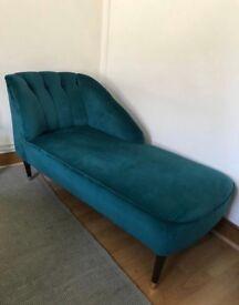 Made chaise lounge sofa armchair blue velvet