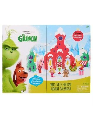 The Grinch Movie Advent Calendar Disney Who-Ville Christmas 14 Figures Free Ship