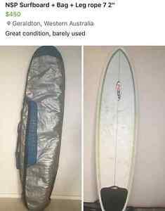 """7 2"""" NSP Surfboard, leg rope & bag Geraldton Geraldton City Preview"""