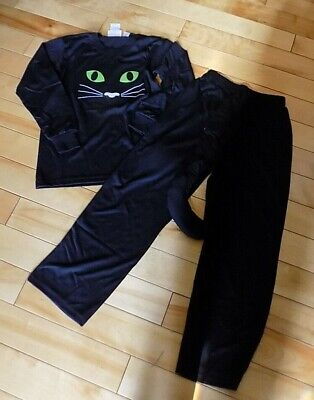 Sara's Prints Girls Size 8 Black Cat Pajamas Set Costume Removable Tail Pants  - Black Cat Costume For Girls