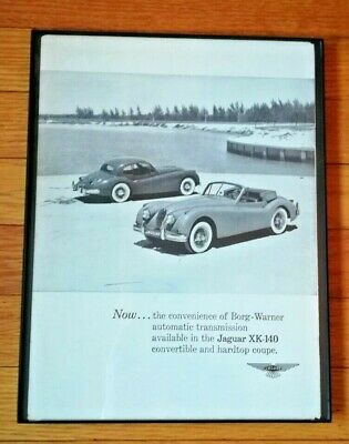 1956 Framed Jaguar XK-140 Ad Car Convertible And Hardtop Vintage Back Cover RT