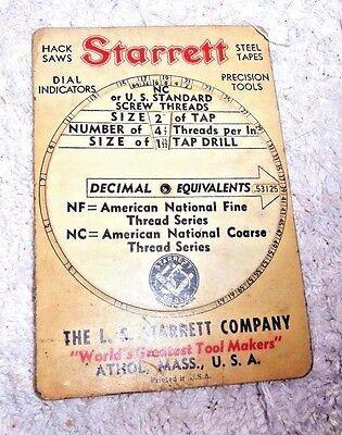 Vintage Dial Screw Threads Size Tap Calculator Drill Starrett Athol Mass 1943