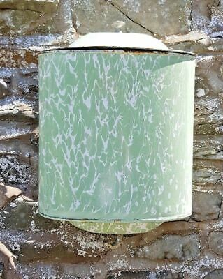 VINTAGE FRENCH ENAMEL WALL TANK HAND WASH LAVABO IRRIGATOR WATER FOUNTAIN GREEN