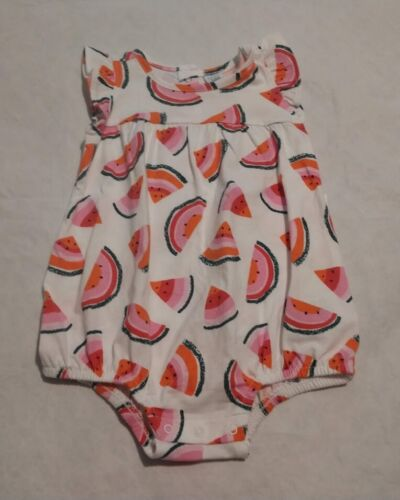 NWT Old Navy Watermelon Bubble Short Romper One Piece 6-12 Months Baby Girl