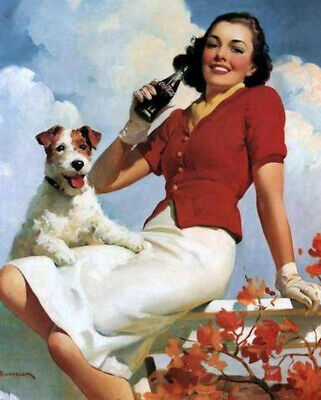 Vintage Coke Coca Cola Ad - Woman and her Terrier Dog Ad - Ad Reprint