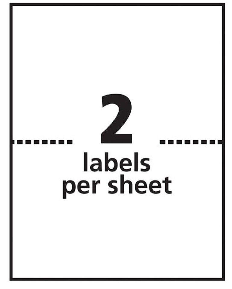 "Premium Half Sheet Shipping Labels 8.5 x 5.5"" 2 Labels/Sheet 100 Sheets/Pack"