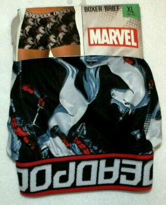 New Mens XL 40-42 Deadpool Marvel Boxer Brief Polyester/Spandex