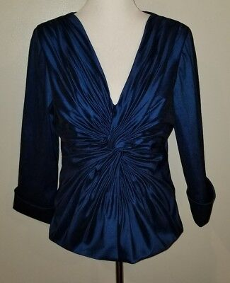 Cachet Blue Shimmer Front Twist Knot Formal Evening Wedding Blouse Top Size 14