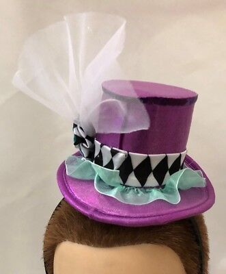 Purple Teal Tiny TOP HAT Headband Costume Hat - One Size Fits - Tiny Top Hats