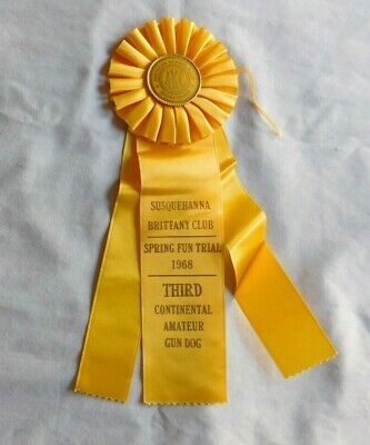 AMERICAN KENNEL CLUB Susquehanna Pa 1968 Yellow Dog Puppy Ribbon 3rd place