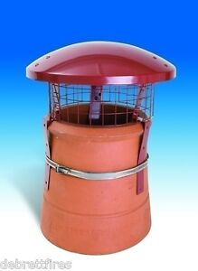Chimney Pot Cowl Bird Guard Solid Fuel RainTop Terracotta Colour Colt strap fix