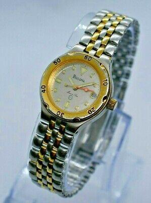 Vintage Ladies' Bulova Marine Star Two-Tone Watch, Date, Gold/Silver, Stainless Bulova Marine Star Ladies