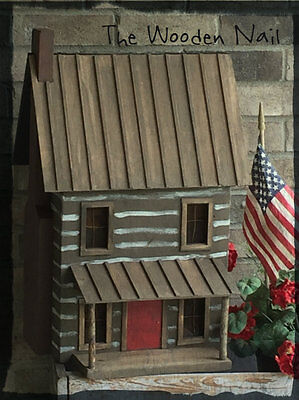 Primitive Log Cabin House Birdhouse Large Pattern/Plan WN172