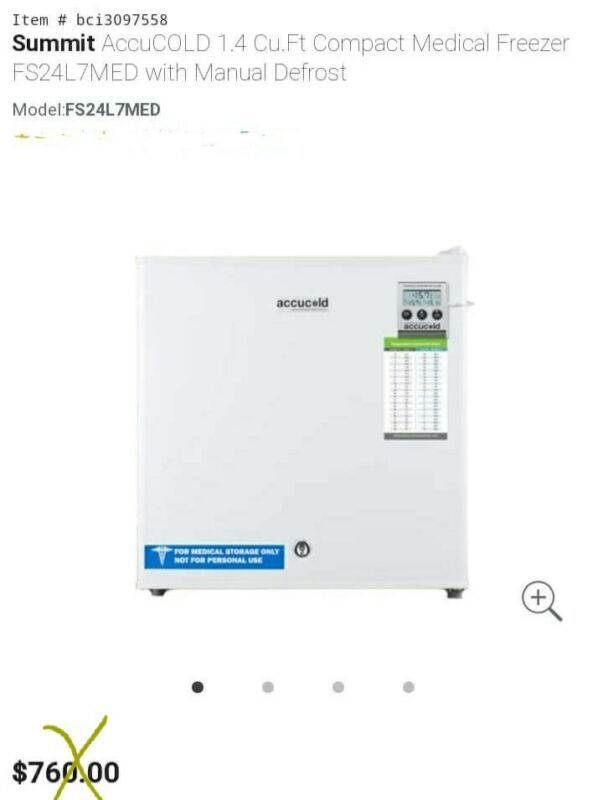 Summit AccuCold 1.4 Cu Ft Compact Medical Freezer Fs24l7med With Manual Defrost