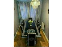 BRAND NEW BEAUTIFUL STYLISH EXTENDING DINING TABLE WITH 4 OR 6 FAUX LEATHER CHAIRS