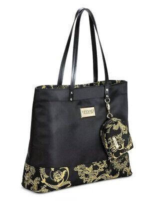 VERSACE Parfums Black and Gold Weekender Tote Purse Handbag Travel Bag NEW