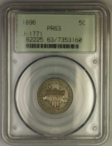 1896 Nickel Pattern Proof 5c Coin Pcgs Pr-63 Ogh J-1771 Judd Ww