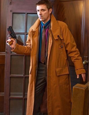 Brown Coat Costume (Harrison Ford Rick Deckard Blade Runner Men's Trench Costume Brown)
