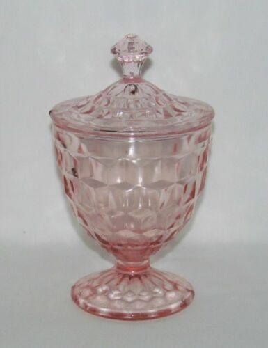 """Jeannette Glass Co. CUBE """"Cubist"""" Pink Footed Candy Dish with Cover"""