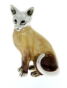 Sterling Silver & Enamel Siamese Cat by Saturno