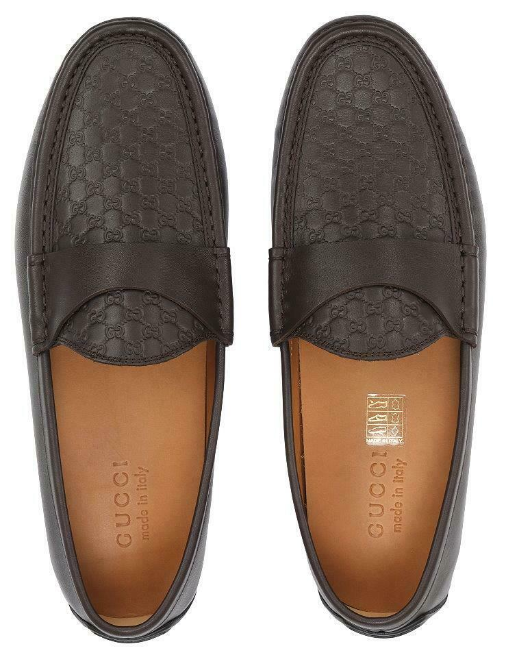 NEW GUCCI MEN'S BROWN GG MOCCASINS LOAFERS DRIVER SHOES 12/US 12.5