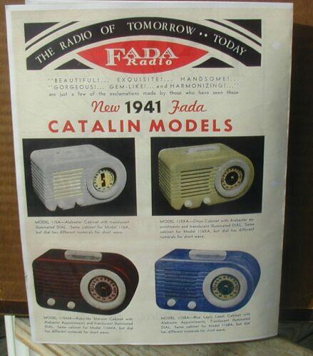 1941 Four page Brochure Fada Catalin Bullet Radios Color Reprint