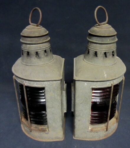 PERKO Antique Oil Navigation Lamps - Pair
