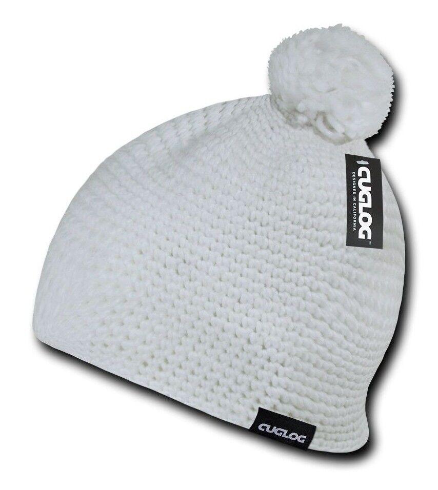 Black Knit Braid Warm Winter Woven Ski Cuffless Crochet Pom Pom Beanie Cap Hat