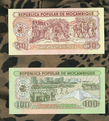 Banknotes Of World Mozambique 1980 50 Meticais P-125 100 Meticais P-126 UNC - $10.00