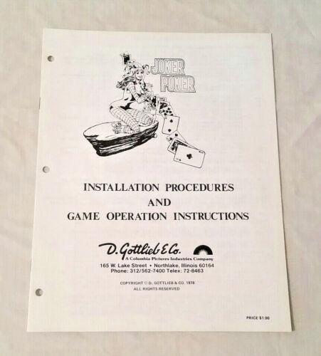 Gottlieb Joker Poker Electro-Mechanical Pinball Machine Original Manual NOS! New