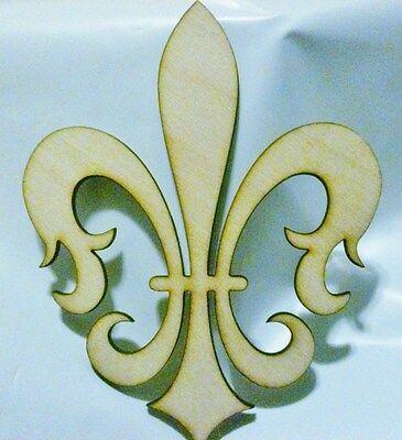 DIY Fleur De Lis Unfinished Wooden Cut Out design decor 12in