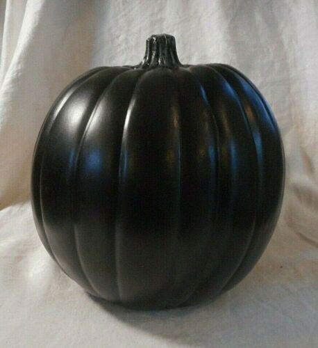 "Black PUMPKIN HOME DECOR DISPLAY FALL THANKSGIVING HALLOWEEN LARGE  8"" x 9"""