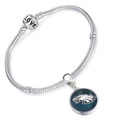Eagles Sterling Silver Eagles (Philadelphia Eagles Womens Sterling Silver Snake Link Bracelet Football Gift)