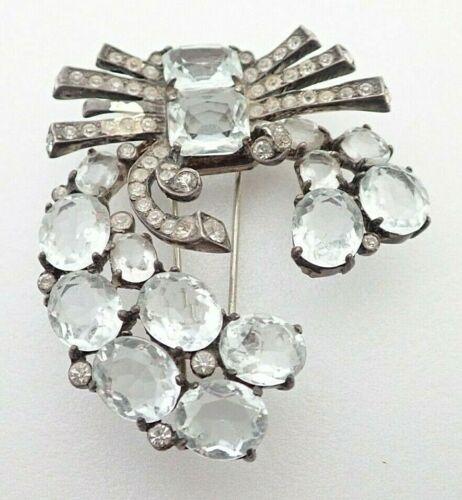 "Vintage Eisenberg Signed Sterling Silver Rhinestone 2 1/2"" Fur Clip Brooch Pin"