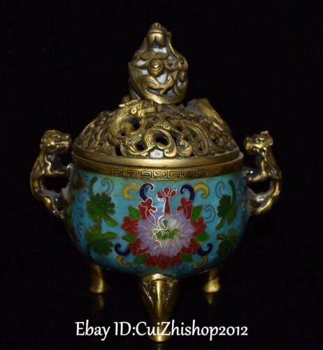 Cloisonne Enamel Gild Xuande Dynasty Dragon Pixiu Beast Incense Burner Censer