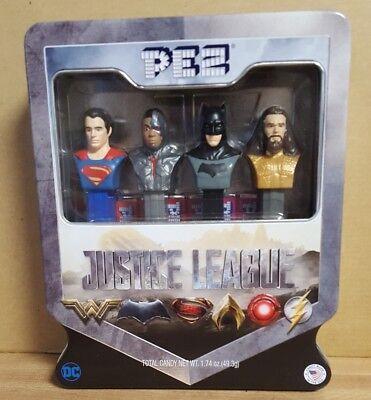 Justice League Gift Tin Pez,  Superman, Batman, Aquaman, Cyborg New 2017