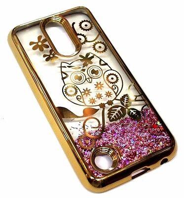 For LG V5 / K20 PLUS Gold Cute Owl Flower Pink Glitter Sparkle Liquid Skin (Liquid Flowers)