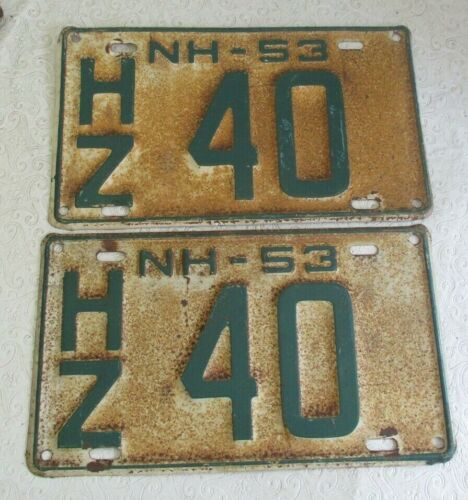 1953 New Hampshire License Plate Tag  pair HZ 40