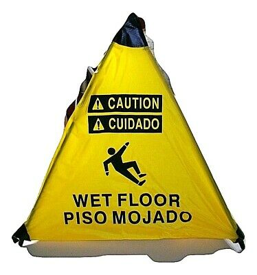 Handy Cone 18 Spring Loaded Caution Wet Floor Sign Wall Mount Tube Holder