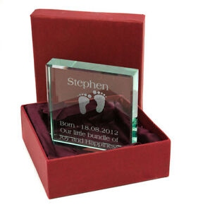 Personalised Medium Jade Glass Block, Engraved Christening Or New Baby Gift.