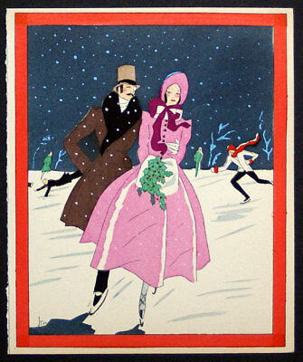 - 1920's ART DECO CHRISTMAS GREETING CARD POCHOIR - COUPLE SKATING, SNOW, HOLLY