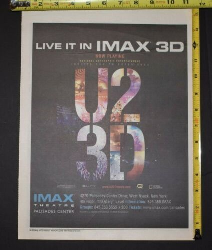 U2 2008 Color 3D Movie Ad IMAX Theater Palisades NYC